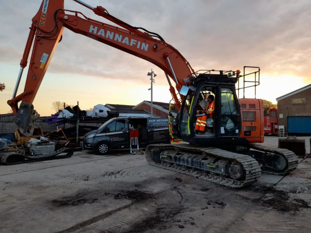 Hitachi excavator with XWATCH fitted